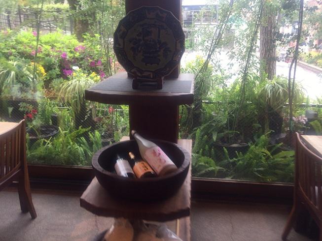 店内に置かれた日本酒とガラス越に見える自由が丘公園