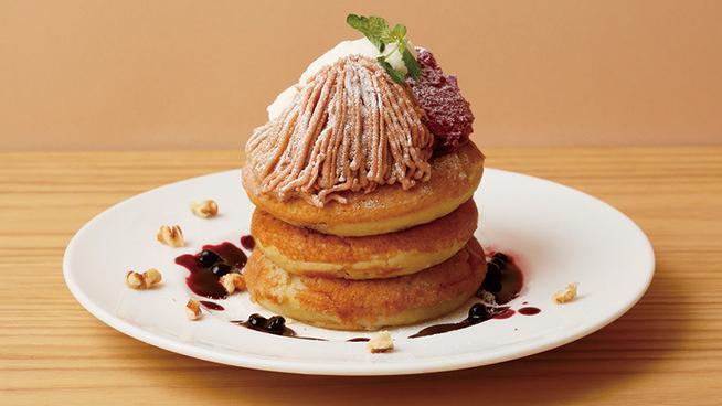 ビブリオテークのモンブランパンケーキ