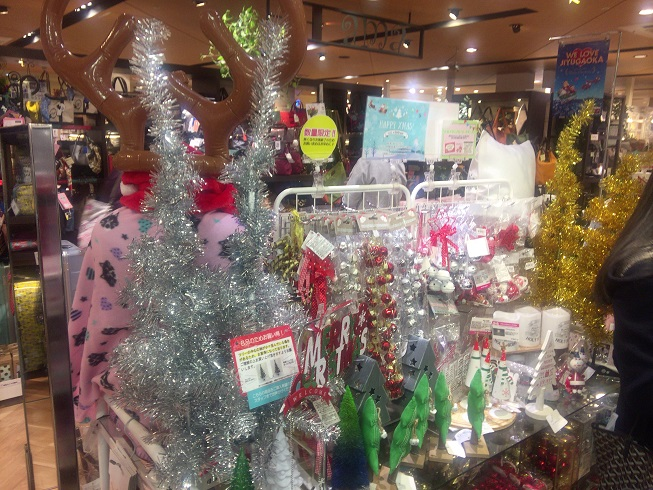 ミカズキモモコに置かれているクリスマスグッズ