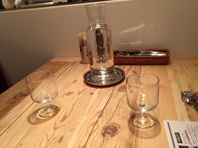 テーブルの水