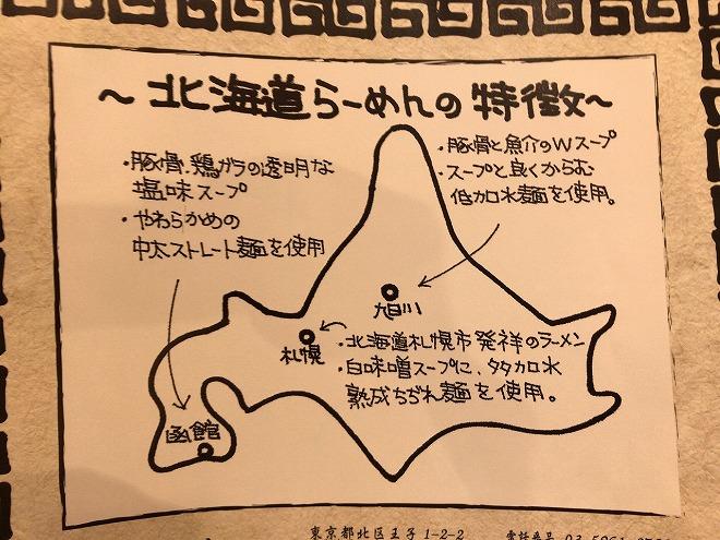 北海道ラーメンの特徴が書かれたみそ熊メニューの一部