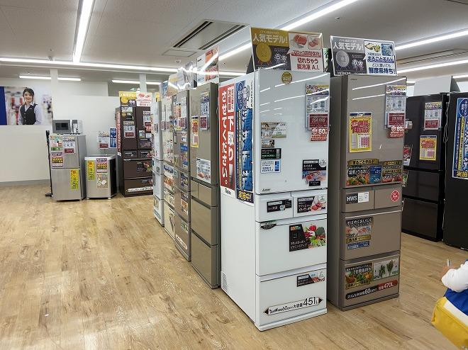 ノジマ自由が丘店の冷蔵庫コーナー