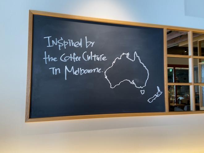 ラテグラフィック自由が丘の筆者が座った席のすぐ上にあるオーストラリア地図とインスパイヤーされたメルボルンの文字